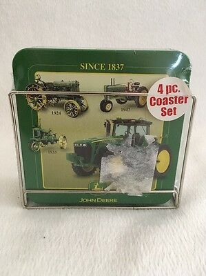 4-pc. John Deere Coasters Set Tin With Chrome Caddy New