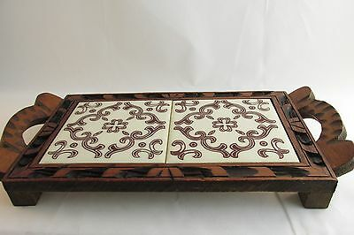 Mexican Double Tile Trivet Hand Carved Wood Frame Brown White Design