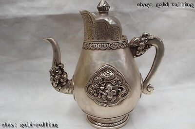 """10""""China Chinese Folk Silver Lucky excellent Dragon animal wine pot flagon"""