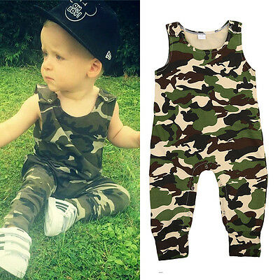Newborn Toddler Baby Boys Girls Camouflage Romper Bodysuit Jumpsuit Outfits Set