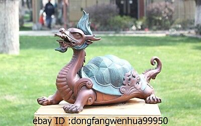 Art Decoration Sculpture China Pure Bronze Copper Dragon Turtle Tortoise Statue