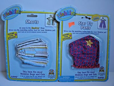NEW Webkinz Clothing Star Fly Pants and Stripped Shorts With Code Lot of 2