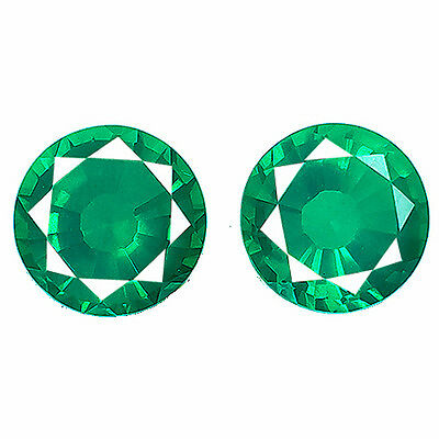 23.25 cts Pair of 2 Pcs Round Colombian Green Emerald Doublet Lab Created Gem