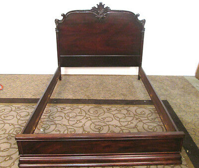57857  Antique Carved Mahogany Full Size bed with wood side rails