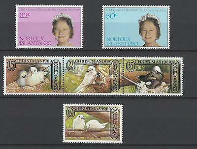 Norfolk Island 1980 Sc#271-6 Queen Mother's 80th Birthday-Christmas 1980 MNH