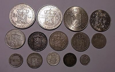 Netherlands - Lot of 14 Silver Coins - 1846-1973