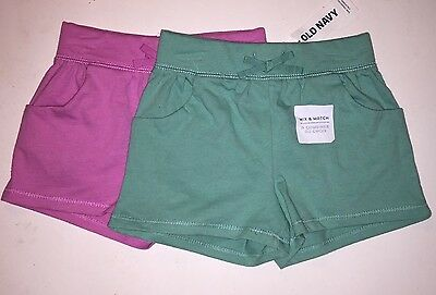 Old Navy Girls Mint or Raspberry Shorts, 12-18, 18-24, 2T, 3T, 5T