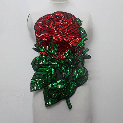 1 Pcs Large Rose Flower Sequined Tulle Applique/Patch Motif Sew On Red Green