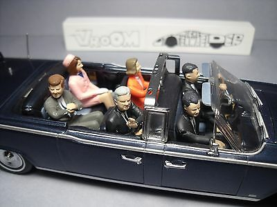 6  Figurines 1/43  Set  345   Kennedy  Vroom  Unpainted  Voitures  Chefs  D'etat