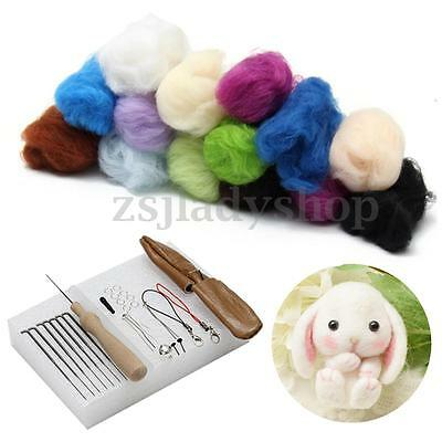 25 Colour DIY Wool Needles Felt Tool Set +7 Needle Felting Mat Starter Kit Craft