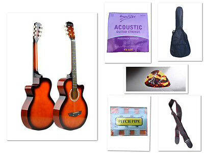 New Beginner Acoustic Guitar With Case,String,Strap,Tuner and Pick Sunburst