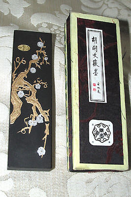 Vintage Asian Black Ink Stone Calligraphy Tablet w/ Box Branches Silver Blossom