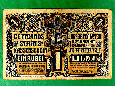 Independent Latvia First Money, 1 Rouble State Treasury Banknote 1919