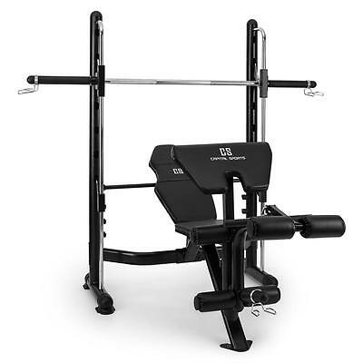 Capital Sports Home Fitness Multi Gym Weight Bench Black Steel Workout Barbell