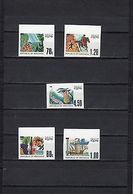 1998 abkhazia standard fauna sailboat winemaking 5 stamps imperforated