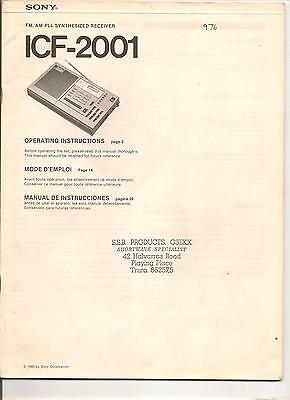 ICF-2001 FM/AM PLL synthesized receiver Operating instructions 1980 in EN, FR,SP