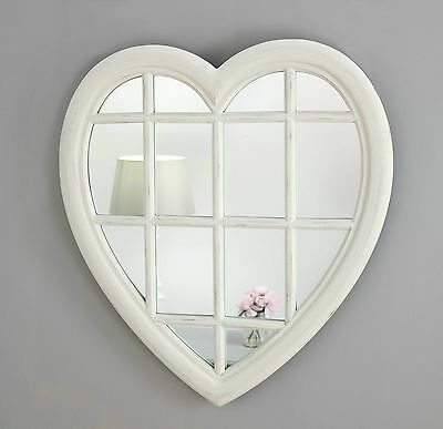 """Rossi Vintage White Shabby Chic Heart Window Wall Mirror 28"""" x 26"""" Large"""
