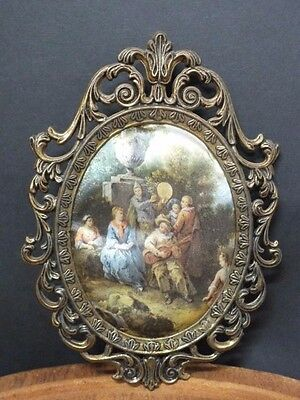 Vintage Italian Fabric?Silk Picture. Miniature. Ornate Metal Frame. Collectible.