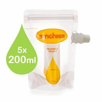 200ml Sinchies Food Pouches Reusable Packaging BPA Free for Children 5 pack