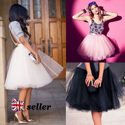 7 Layer Vintage Tulle 50s Skirt Rockabilly Tutu Petticoat Ball Gown Skater Dress
