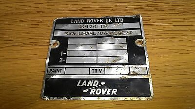 Landrover Classic Range Rover Vin plate - a bit battered