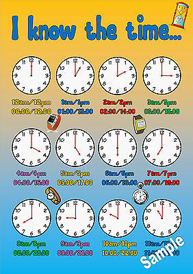 Childminding EYFS Telling the Time A4 Laminated Poster