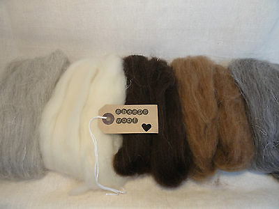 100g - 5 colours of natural sheeps wool for needle felting/ spining/ weaving