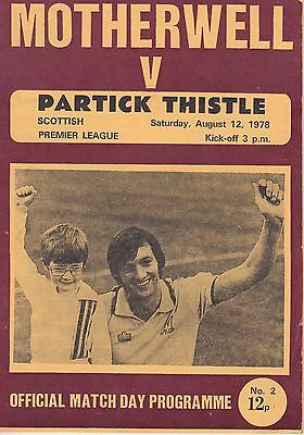 MOTHERWELL v PARTICK THISTLE ~ 12 AUGUST 1978 ~ FREE POSTAGE
