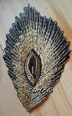 GOLD Black Iron on Sequin Embroidered PEACOCK Feather Patch Applique Motif