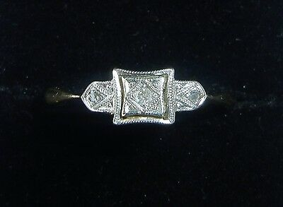 Antique Art Deco 18ct Gold, Platinum & Diamond Three Stone Ring, Size M