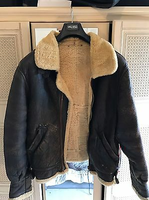 "Vintage Sheepskin Bomber Jacket, Men's 40"" Chest"