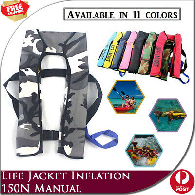 Adult Manual Inflatable Life Jacket 150N Buoyancy Aid Sailing Swimming Kayaking