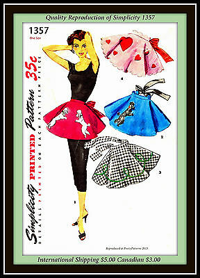 APRON Vtg 50s POODLE SKIRT Simplicity 1357 ONE YARD FABRIC Sewing Pattern Uncut