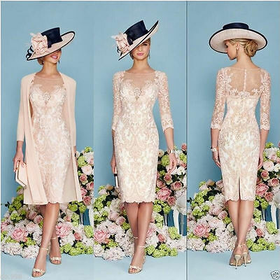 New Mother Lace Bride Formal Evening Dress Groom Outfit Jacket Custom Tea Length