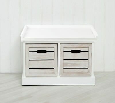 White Two Drawer Crate Bench Seating Storage Bedroom Hallway Rustic