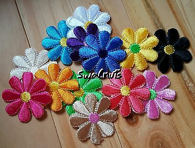 5pcs Mixed colours Iron on Embroidered Daisy Flowers Patch Applique Motif