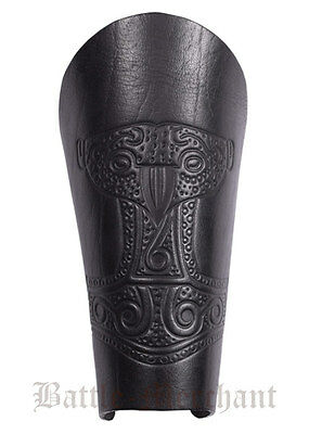 Bracer - Leather wristband with embossed thor's hammer, black - Armguard LARP