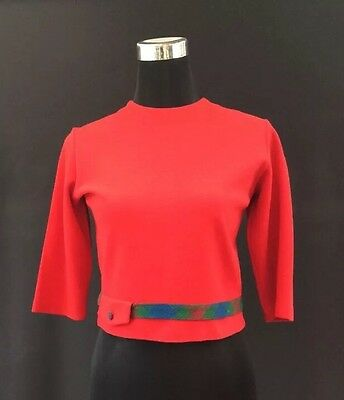 "JUDY VINTAGE RED SHORT 3/4 Sleeve 1960's Smart Top COURTELLE/WOOL 34"" 'JACKIE O'"