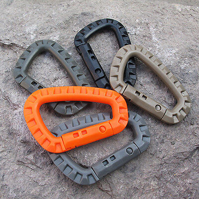 5PCS Outdoor Tactical Hiking D-Ring Carabiner Backpack Hook Snap Clip Keychain