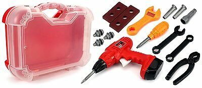 Kids Childrens Boys Role Play Builder Toy Tool Set In Hard Carry Case Drill Set