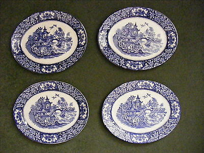 4 Vintage Willow Pattern Oval Meat Plates Blue & White China 29 x 23cm.