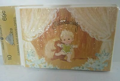 Vintage Baby Birth Announcements 10 Cards & Envelopes Sealed NOS Rust Craft STAR