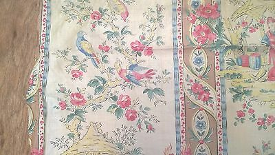 Antique Vintage Toile Chinoiserie Fabric 19th C