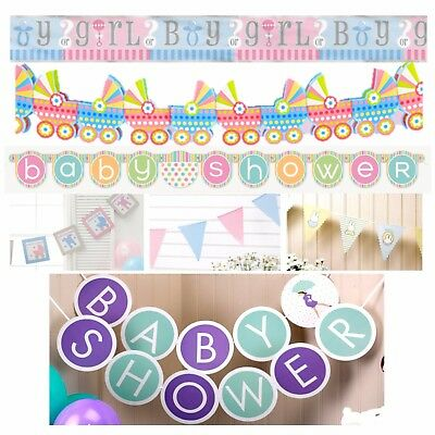 BABY SHOWER BANNERS - Unisex Decorations,Foil,Jointed,Bunting,Party Garland Glit