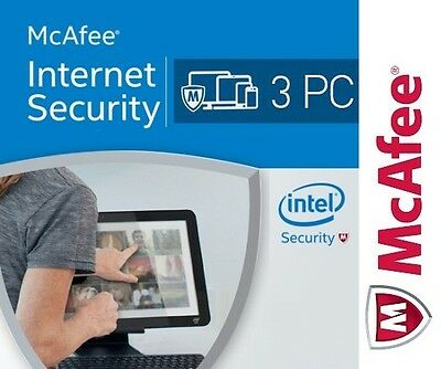 McAfee Internet Security 2017 Antivirus, 3 PC Win 1 Anno 1 Year - Licenza ESD