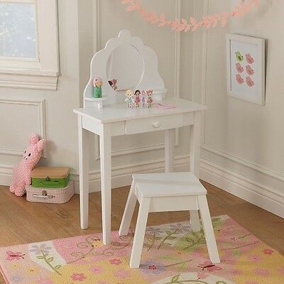 Girls White Dressing Table Wooden Stool Furniture Childrens Bedroom Storage New