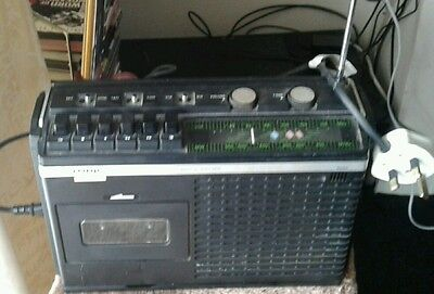 Vintage York AC/DC Portable Cassette Recorder with built in MW/VHF Radio