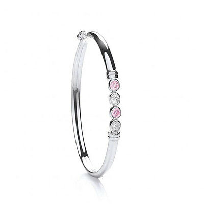 Sterling Silver Baby/Childs Pink & White Bangle