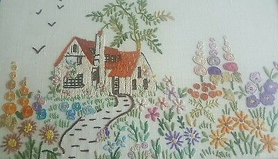 Vintage Country cottage garden  embroidered picture flowers cottage framed
