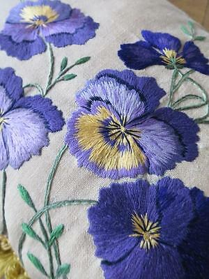 Vintage Irish Linen Cushion Cover & Pad- Crewel Hand Embroidery of Pansies